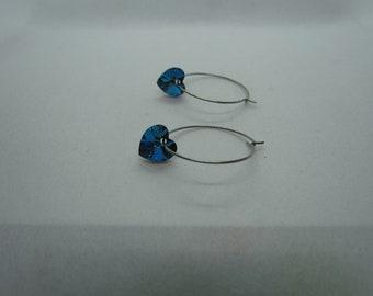 Stainless Steel Hoops (Bermuda Blue Swarovski Hearts)