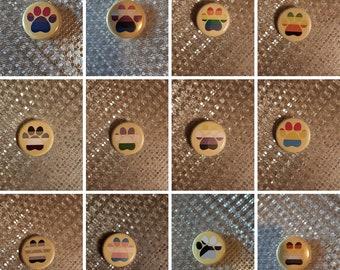 """Pride Paw Prints - 1.25"""" pinback button"""