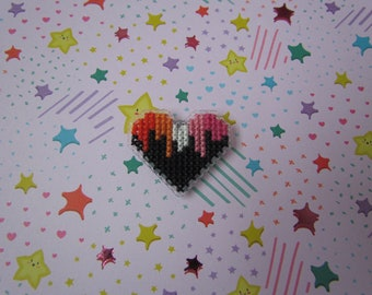 Cross Stitched Pride Flag Pins - LESBIAN DRIPPY HEART