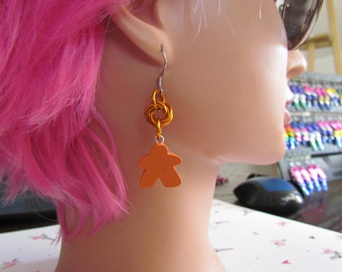 Meeple Rosette Earrings ORANGE
