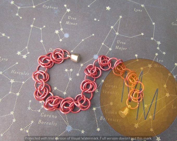 CLEARANCE - Matte Dark Rose BARREL WEAVE Chainmail Bracelet Lightweight Hypoallergenic