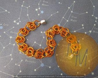 CLEARANCE - Orange BARREL WEAVE Chainmail Bracelet Lightweight Hypoallergenic