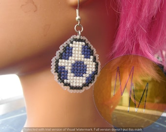 CLEARANCE Yoshi Egg Cross Stitch Earrings - Navy