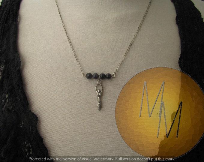 Divine Feminine Goddess Necklace (Blue Goldstone)