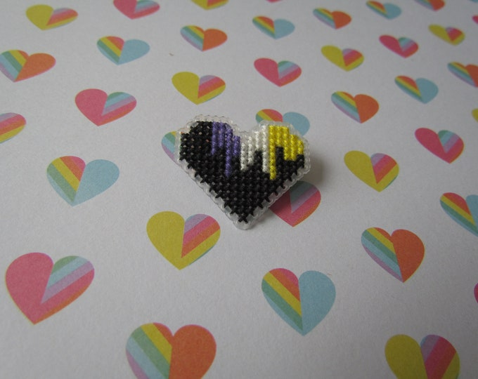 Cross Stitched Pride Flag Pins - NONBINARY DRIPPY HEART