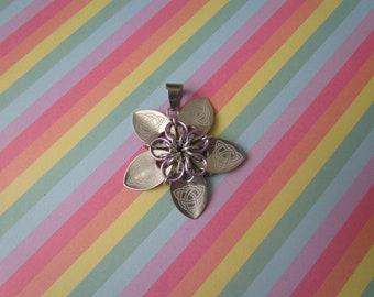 Scale Flower Pendant (Silver Celtic Knot/Lavender REVERSIBLE)
