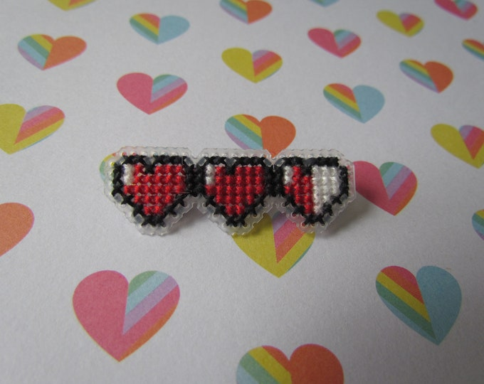 Pieces of Heart Cross Stitch Pin