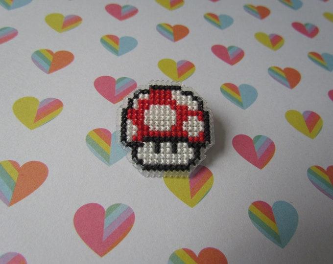 Super Mario Mushroom Cross Stitch Pin