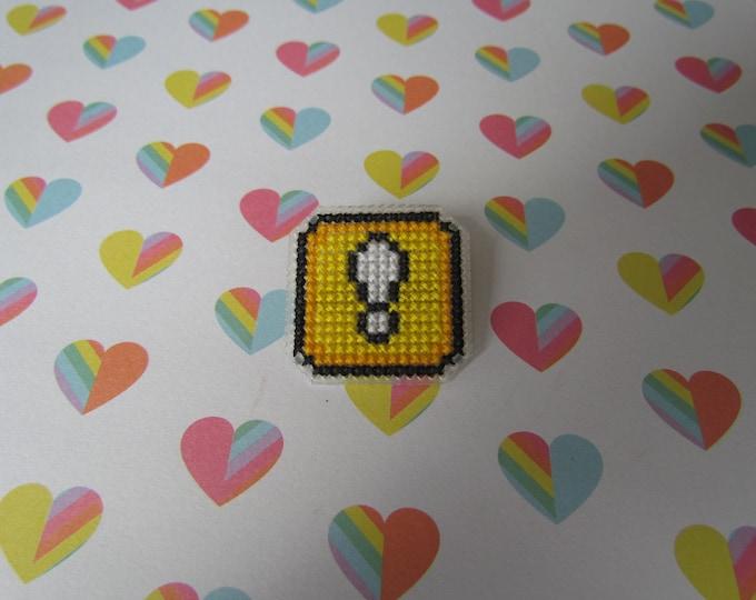 Super Mario Action Block Cross Stitch Pin