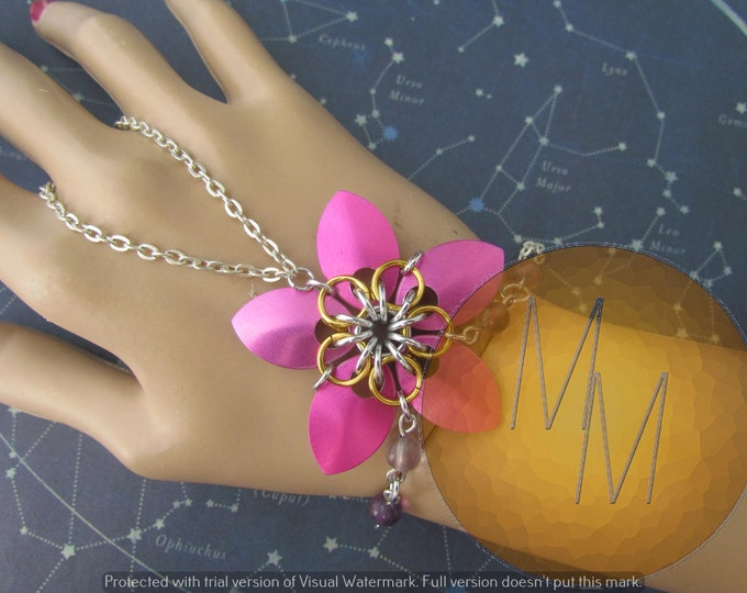 CLEARANCE - Pink & Gold Scalemail Handflower with Flourite Gemstone Accents