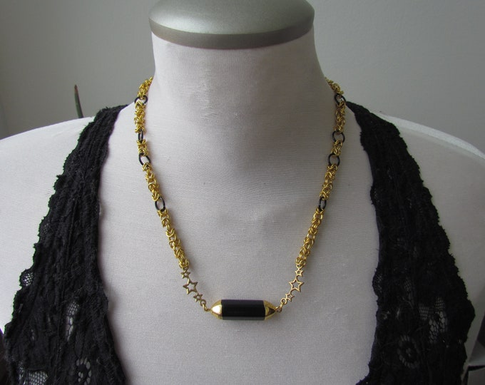CLEARANCE - Gold & Black Chainmail Necklace w/Star Connectors, Onyx Point
