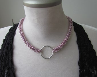 Pink 6in1 Chainmail O-Ring Collar Necklace