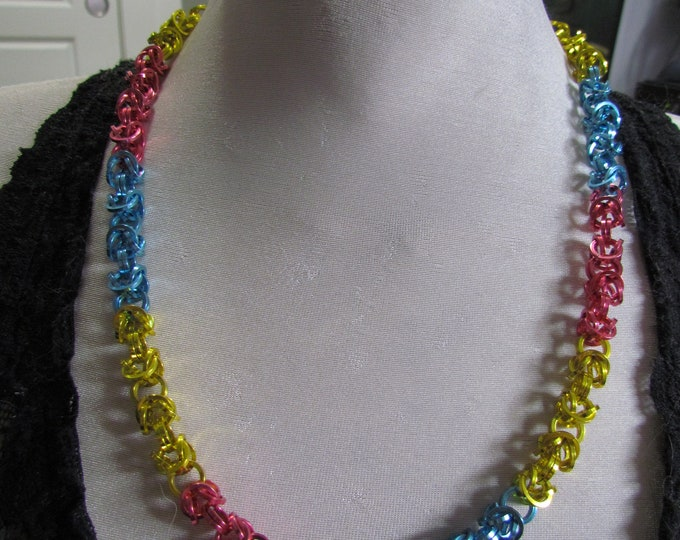 Pride Flag Byzantine Chain Necklace PANSEXUAL