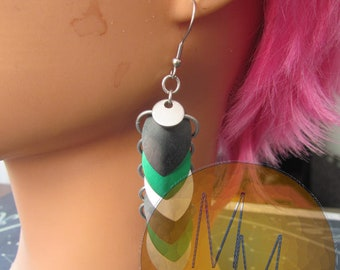 Silver, Green, & Black Scalemail Earrings STAINLESS STEEL HOOKS