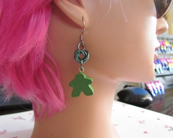 Meeple Rosette Earrings GREEN