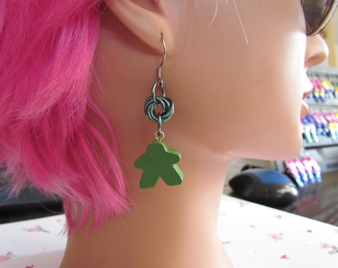 Meeple Rosette Earrings GREEN