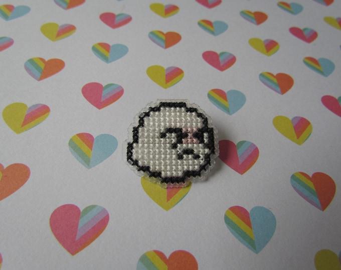 Super Mario Shy Boo Cross Stitch Pin
