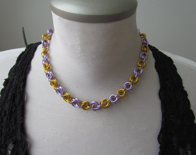 Lavender & Gold Mobius Knot Choker Necklace