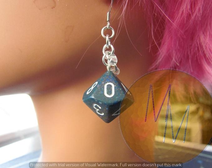 Blue/Green/Black Speckle d10 Chainmail Earrings STAINLESS STEEL HOOKS