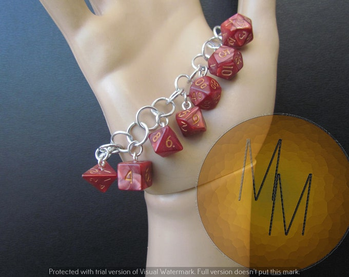MINI DICE BRACELET Red Pearl/Shimmer