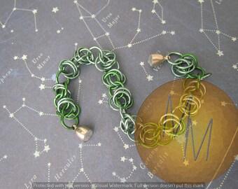 CLEARANCE - Multi Green BARREL WEAVE Chainmail Bracelet Lightweight Hypoallergenic