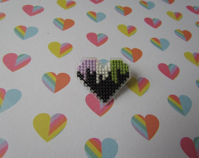 Cross Stitched Pride Flag Pins - GENDERQUEER DRIPPY HEART