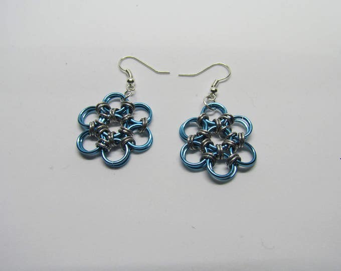 CLEARANCE - Chainmail Daisy Earrings - Light Blue
