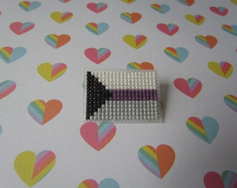 Cross Stitched Pride Flag Pins - DEMISEXUAL