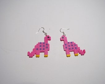Mini Perler Dinosaur Earrings