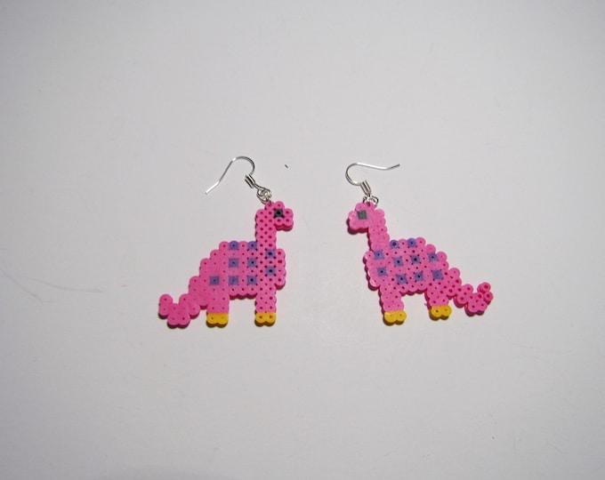 Mini Perler Dinosaur Earrings