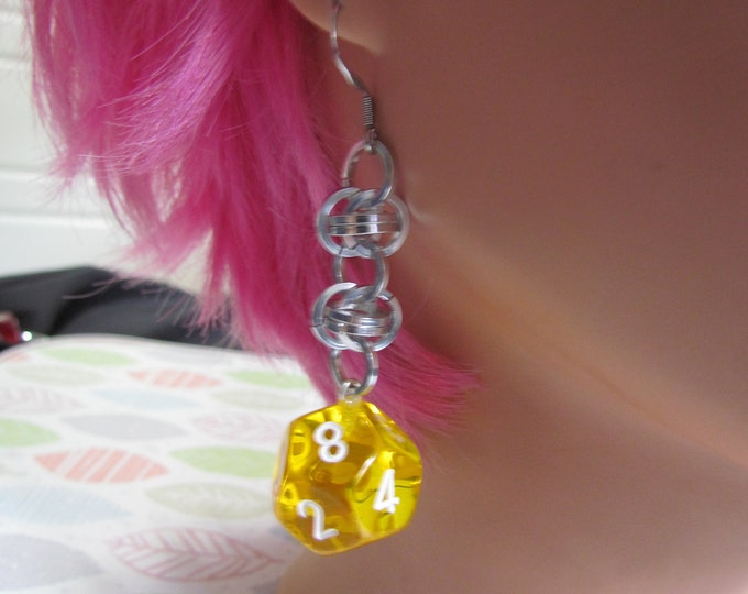 Transparent Yellow d12 Chainmail Earrings STAINLESS STEEL HOOKS