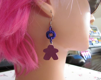 Meeple Rosette Earrings PURPLE