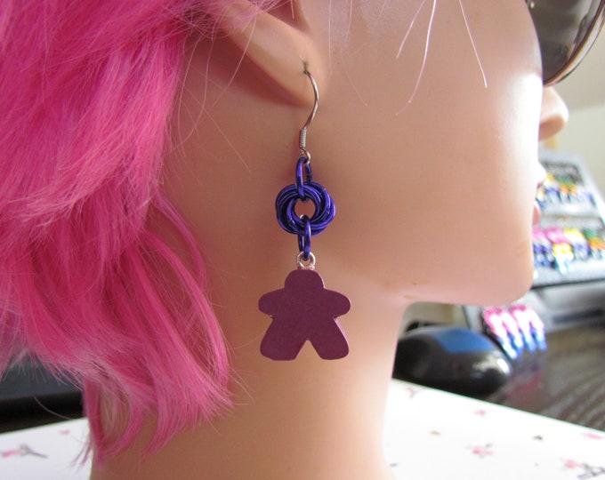 Meeple Rosette Earrings PURPLE