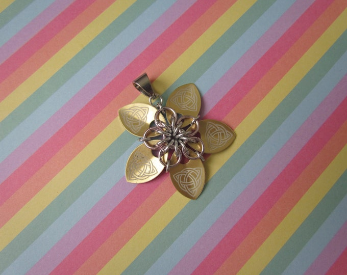Scale Flower Pendant (Gold Celtic Knot/Pink REVERSIBLE)