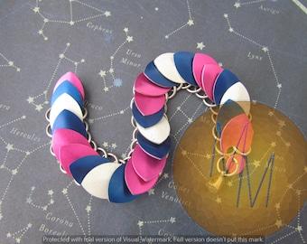 TRANSGENDER FLAG Scalemail Bracelet Trans Pride Colours