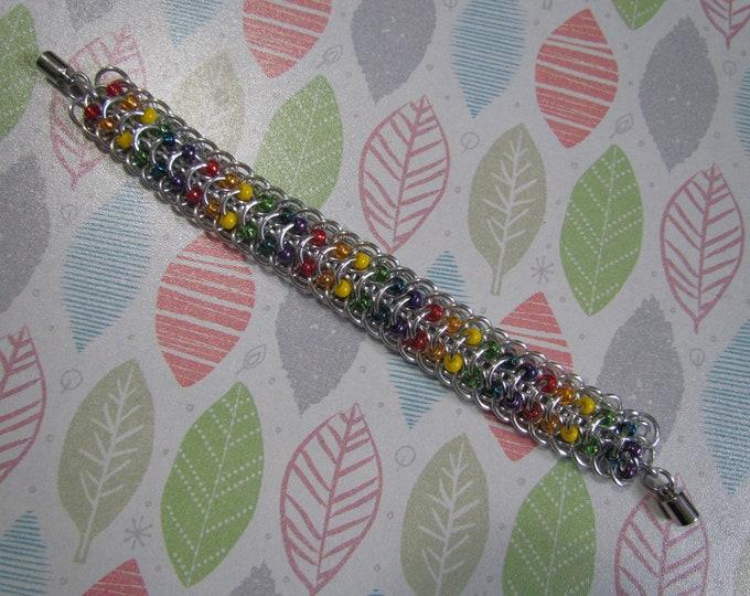 Rainbow Beaded Dragonback Chainmail Bracelet
