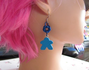 Meeple Rosette Earrings BLUE