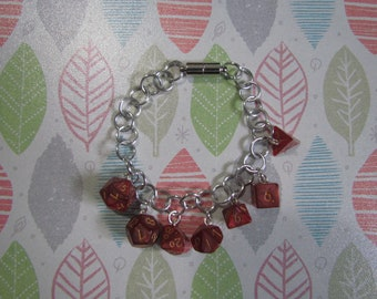 MINI DICE BRACELET Dark Red Shimmer w/Gold Numbers