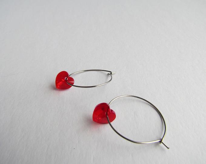 Stainless Steel Hoops (Light Siam Shimmer Swarovski Hearts)