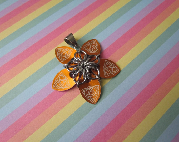 Scale Flower Pendant (Orange Celtic Knot/Black Ice REVERSIBLE)