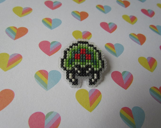 Metroid Cross Stitched Pin