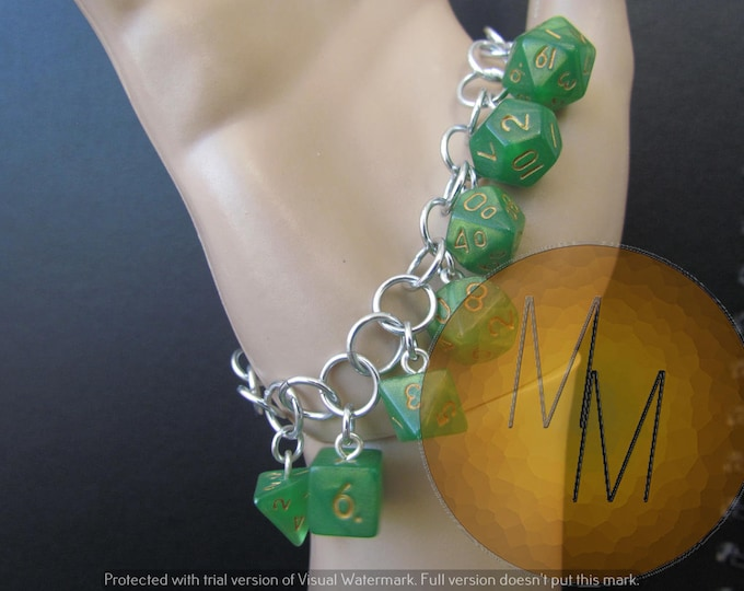 MINI DICE BRACELET Green Shimmer w/Gold Numbers