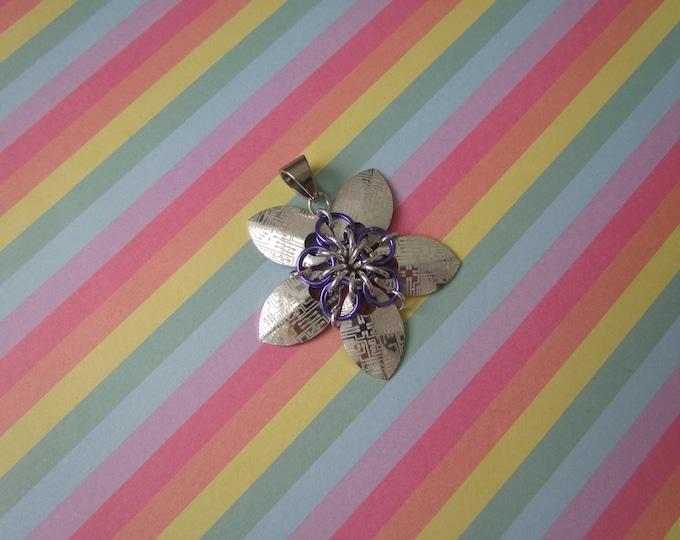 Scale Flower Pendant (Silver Circuitboard/Lavender REVERSIBLE)