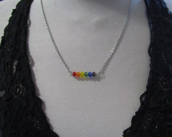 Beaded Pride Necklace RAINBOW