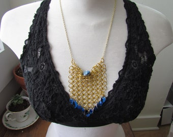 CLEARANCE - Blue & Gold Chainmail Bib Necklace