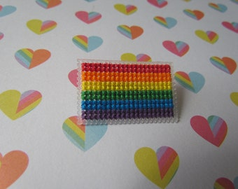 Cross Stitched Pride Flag Pins - RAINBOW