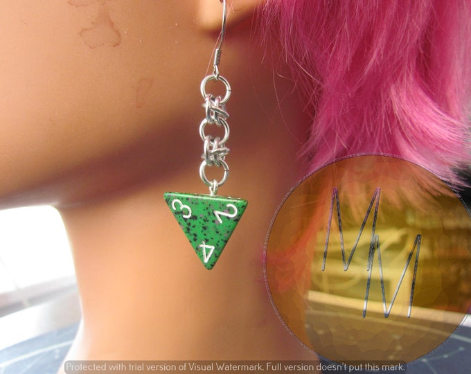 Green d4 Chainmail Earrings STAINLESS STEEL HOOKS
