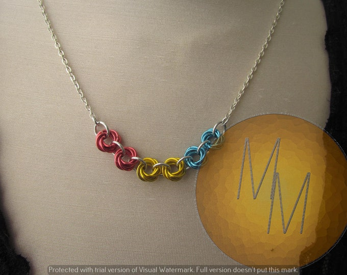 Chainmail Rosette Necklace Pride Flag Pan Pansexual Pride