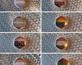 "Pride Flag d20 - 1.25"" pinback button"