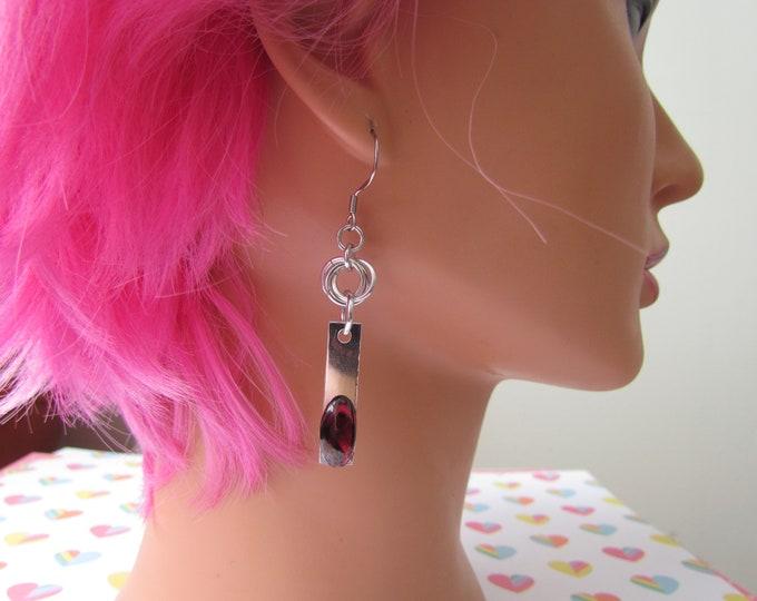 Gemstone Mobius Knot Earrings - Garnet